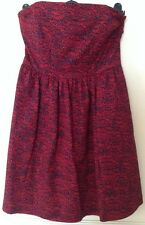 Bnwt��Next��Size 10 Black & Red Print Bandeau Dress Cotton Summer Holiday New.