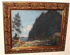 """The Cliff""-Mother & Children at Mt Mansfield,Vt-Impressionism-Gustave Cimiotti"