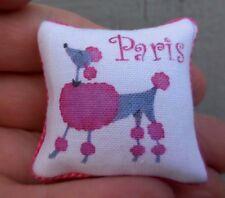 Dollhouse Miniature ~ Pink Poodle Pillow 1:12
