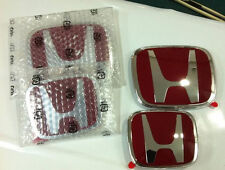 2XNEW JDM Red H Front Grille +Rear Emblem Badges  for Honda CRV RE ODYSSEY 3 RB4