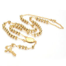 Cross Jesus Pendant 58 beads Rosary Unisex Long Necklace 18K Gold Plated