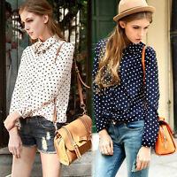 Fashion Casual Womens Polka Dots Print Chiffon Long Sleeve Tops T-Shirt Blouse