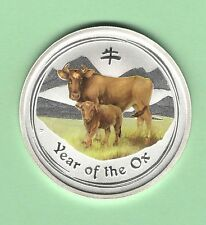2009 *YEAR OF THE OX* HALF oz SILVER *Colorized* coin- Australia 50 cent -GEM BU