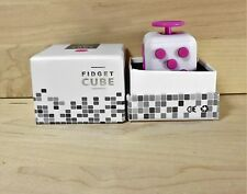 New White & Pink  Full Fidget Cube 6 side anxiety stress attention relief toy