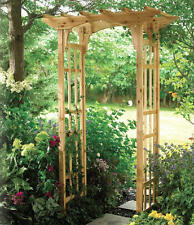 New Premium Suncast Cedar Arbor Wooden Arch Trellis Lattice Wood Garden Yard