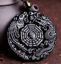 Lucky New Natural Obsidian Carved Chinese Dragon Phoenix BaGua Pendant Necklace