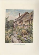 "1914 Antique Color Plate ""Warwickshire Cottages & Garden"" England 100 years old!"