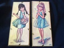 VTG Set of 2 Jolylle Big Eyes Print Girl Wood Board F. Idylle 60's wall pictures