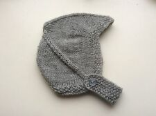 HAND KNITTED BABY HAT - BIRTH TO 3 MONTH LIGHT GREY