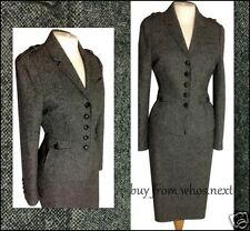 38 NEXT 12 14 GREY 40's 50'S STYLE TWEED WOOL PENCIL SKIRT SUIT MILITARY