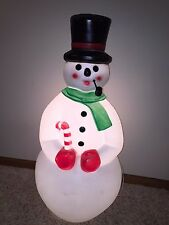 """Vintage 34"""" Union Christmas Snowman with Pipe Lighted Blow Mold Decoration"""