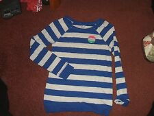 justice --  girls size 10 cobalt blue and gray striped shirt---nwt