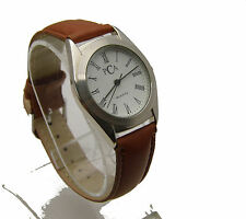 "PCA 9.5"" Watch White Face w/ Black Roman Numerals Leather Band Analog WORKS"