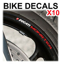 10X DUCATI MONSTER MOTORCYCLE BIKE WHEEL STICKERS DECALS TAPE RIMS
