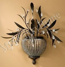 BEADED CRYSTAL Brass Floral WALL SCONCE Chandelier NEIMAN MARCUS Light Fixture