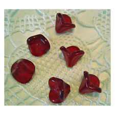 Ruby Red Flower Beads Czech Glass Pretty for Valentines Day