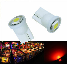 10x #555 T10 1 SMD 5050 LED Pinball Machine Light Bulb Red AC/ DC 6.3V