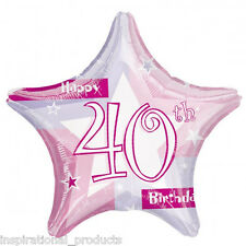 Anagram Pink HAPPY 40th BIRTHDAY 40 Today Unisex Star Foil Helium Balloon 19""