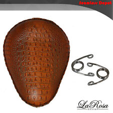 "13"" LaRosa Brown Alligator Emboss Leather HD Chopper Bobber Solo Seat + Springs"