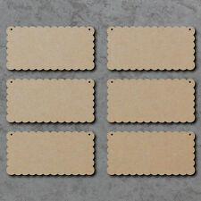 Blank Signs with Scalloped Edges x6 (20cm x 10cm) - Wooden Laser Cut mdf Plaques