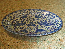 "Vintage Phoenix bird, ""flying turkey"" blue & white 7 5/8"" L oval platter-Japan"