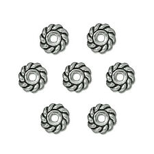HEISHE TWIST SPACER BEAD SILVER PEWTER 25PC 6MM PW10