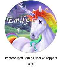 30 x Unicorn Horse Personalised Cupcake Toppers Edible Paper Fairy Cake Toppers