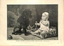 Chien Bébé Enfant Caniche Poodle Léon MAYET GRAVURE OLD PRINT 1896