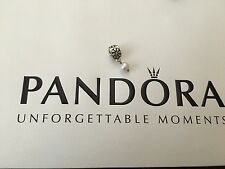 Authentic Pandora Silver Simple Flower Pearl Dangle Charm bead 790535P Retired