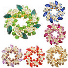 Fashion Ladies Rhinestone Crystal Alloy Flower Bouquet Brooch Pin Multicolor Hot