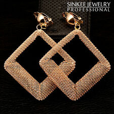 2016 New Fashion 85mm Hollow Square Long Clip Earrings Dangle for Women ES357