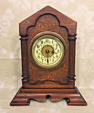 Antique Teutonia  Shelf Clock Porcelain Face w/ Alarm Runs? Germany