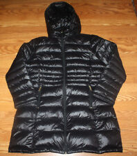 NWT Womens ANDREW MARC Black Long Hooded Puffer Duck Down Jacket Coat L Large