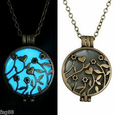 New Glow in the Dark Flowers and Hearts Metal Chain Locket Necklace Pendant