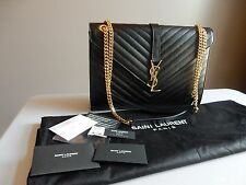 YSL Yves Saint Laurent Black Monogram Large Grained Chain Bag $2,590 BNWT!