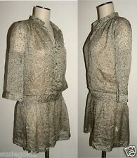 Silk Dress Tunic floral sheer dropped waist / IKKS / European 36 US size 4 NWT
