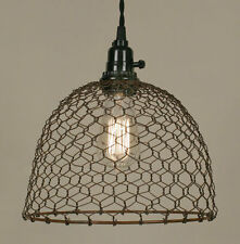 Primitive rusty CHICKEN WIRED hang light / PLUG IN LIGHT/ nice