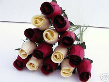 MOTHERS DAY FLOWERS IDEAL GIFT 4 MUM  100  BURGUNDY & IVORY WOODEN ROSES WEDDING