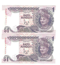 Offer Malaysia Jaffar Hussien banknote $1 prefix HH5914521-22(2r/n in 1price)