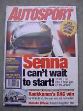 Autosport (2 Dec 1993) Ayrton Senna interview, RAC Rally, Malcolm Wilson,Audetto