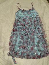 JUSTICE Silver Sparkly Gause Baby Blue Dress Girl Size 12 GORGEOUS fx