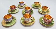 Rare Set of Eight CARLESBAD ART NOUVEAU Austrian Floral Teacups c. 1910  antique