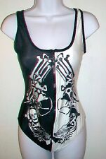 Skeleton Guns Swim Bathing Tank Suit One Piece Black By Hot Topic ~ Large NEW