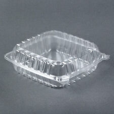 "8""X8""X3"" CLEAR PLASTIC CONTAINERS, HINGED LID , FOOD, SALAD, TAKE OUT (10 BOXES)"