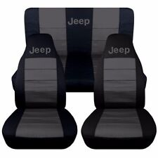 Black and Charcoal Jeep Liberty Seat Covers. Front and Rear Seats.  2002-2004