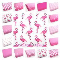 PINK FLAMINGOES STARS DOTS FLORAL 100% COTTON FABRIC PINK girls curtains bundles