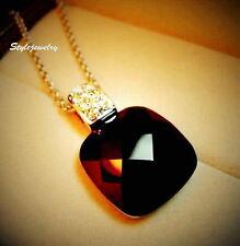 18k Rose Gold Filled Genuine Swarovski Crystal Black Square Onyx Necklace N123