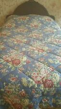 EDDIE BAUER BLUE CABBAGE ROSES SHABBY CHIC COUNTRY COTTAGE QUEEN COMFORTER EUC