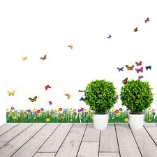 Removable Wall Sticker Mural Decal Grass Flowers Butterfly Window Room Decor RS