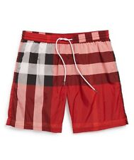 New Burberry Brit Authentic Gowers Check Swim Trunks Parade Red Nwt